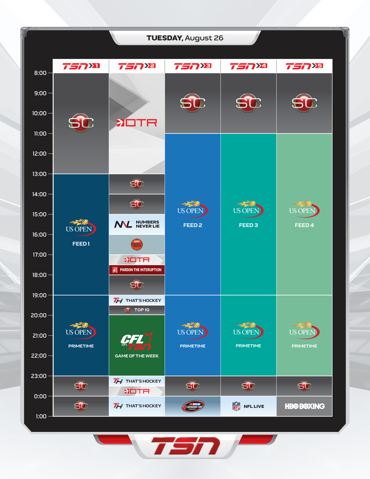 TSN New Channel Placement and First Week Schedule – A Rouge