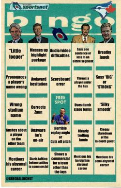 Sportsnet Blue Jays Bingo Card